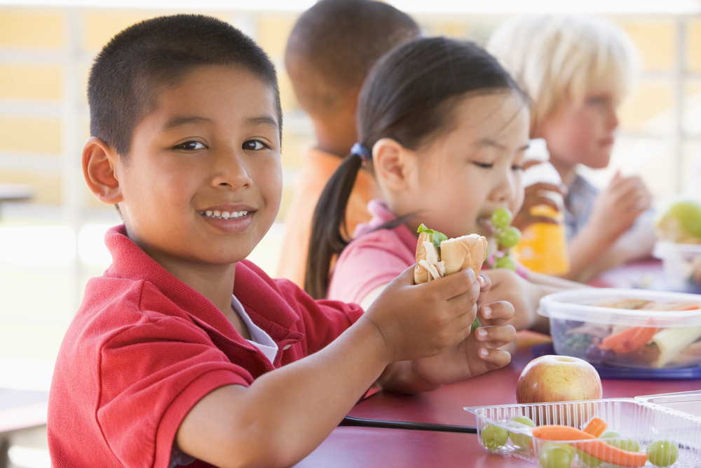 children eating healthy lunches